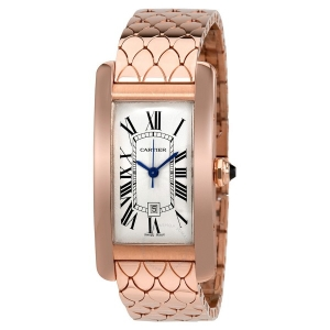 Tank Americaine 18kt Pink Gold Silvered Flinque Dial Ladies Watch W2620032