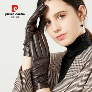 여성양가죽장갑 Pierre Cardin women sheepskin leather gloves thick warm winter plus velvet touch-screen car ride w-603932538670